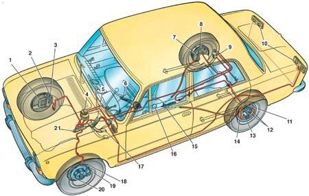 калина тормозная система схема